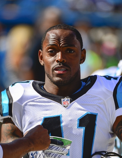 Sep 22, 2013; Charlotte, NC, USA; Carolina Panthers cornerback Captain Munnerlyn (41) on the sidelines in the fourth quarter. The Carolina Panthers defeated the New York Giants 38-0 at Bank of America Stadium. Mandatory Credit: Bob Donnan-USA TODAY Sports