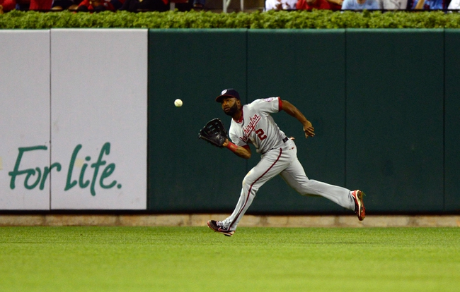 Sep 23, 2013; St. Louis, MO, USA; Washington Nationals center fielder Denard Span (2) catches a ball hit by St. Louis Cardinals center fielder Jon Jay (not pictured) during the sixth inning at Busch Stadium. St. Louis defeated Washington 4-3. Mandatory Credit: Jeff Curry-USA TODAY Sports