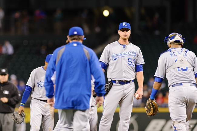 Sep 23, 2013; Seattle, WA, USA; Kansas City Royals manager Ned Yost (3) walks out to pull Kansas City Royals relief pitcher Will Smith (53) from the game during the 7th inning against the Seattle Mariners at Safeco Field. Mandatory Credit: Steven Bisig-USA TODAY Sports