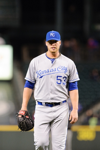 Sep 23, 2013; Seattle, WA, USA; Kansas City Royals relief pitcher Will Smith (53) walks off the field after being pulled from the game during the 7th inning against the Seattle Mariners at Safeco Field. Mandatory Credit: Steven Bisig-USA TODAY Sports