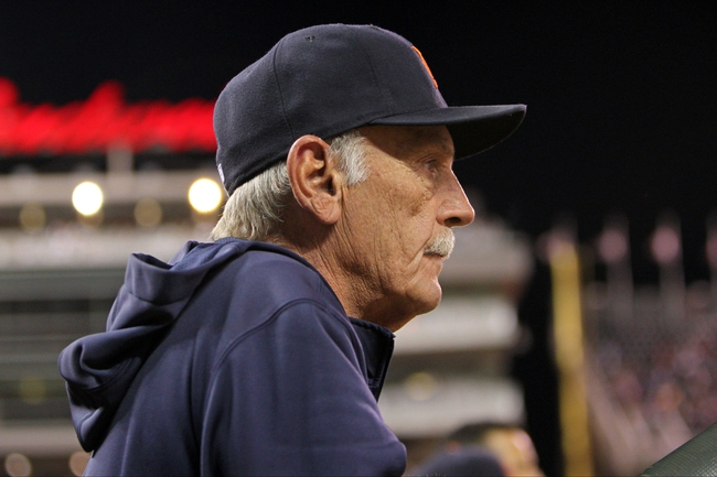Sep 23, 2013; Minneapolis, MN, USA; Detroit Tigers manager Jim Leyland (10) looks on during the fourth inning against the Minnesota Twins at Target Field. The Twins defeated the Tigers 4-3. Mandatory Credit: Brace Hemmelgarn-USA TODAY Sports