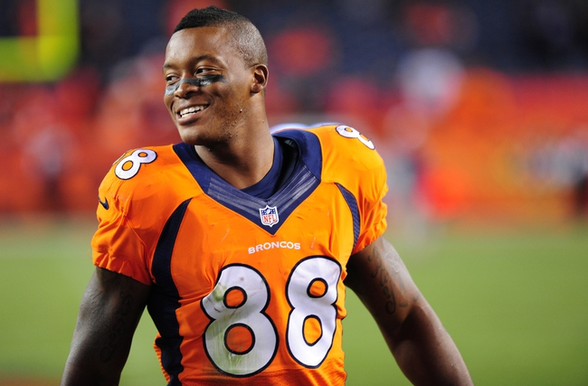 Sep 23, 2013; Denver, CO, USA; Denver Broncos wide receiver Demarius Thomas (88) after the game against the Oakland Raiders at Sports Authority Field at Mile High.  The Broncos won 37-21. Mandatory Credit: Chris Humphreys-USA TODAY Sports