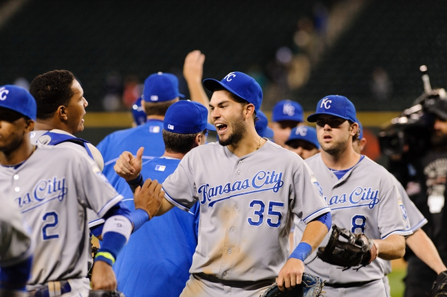Sep 23, 2013; Seattle, WA, USA; Kansas City Royals first baseman Eric Hosmer (35) celebrates after the Kansas City Royals defeating the Seattle Mariners during the 12th inning at Safeco Field. Kansas City defeated Seattle 6-5. Mandatory Credit: Steven Bisig-USA TODAY Sports