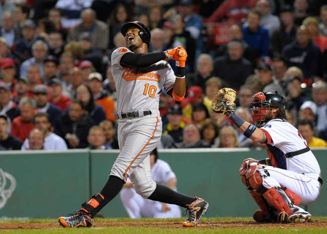 Sep 17, 2013; Boston, MA, USA; Baltimore Orioles center fielder Adam Jones (10) reacts after swinging at a pitch during the fourth inning against the Boston Red Sox at Fenway Park. Mandatory Credit: Bob DeChiara-USA TODAY Sports