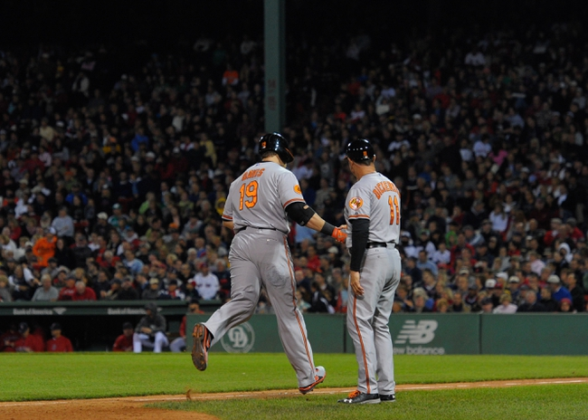 Sep 17, 2013; Boston, MA, USA; Baltimore Orioles first baseman Chris Davis (19) rounds third base after hitting a home run to tie the game during the sixth inning against the Boston Red Sox at Fenway Park. Mandatory Credit: Bob DeChiara-USA TODAY Sports