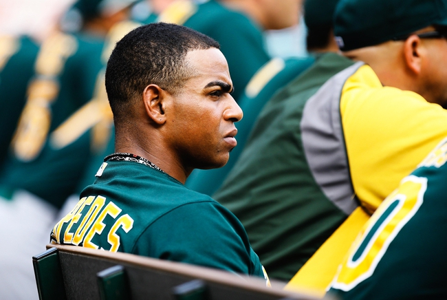 Sep 15, 2013; Arlington, TX, USA; Oakland Athletics designated hitter Yoenis Cespedes (52) during the game against the Texas Rangers at Rangers Ballpark in Arlington. Oakland won 5-1. Mandatory Credit: Kevin Jairaj-USA TODAY Sports