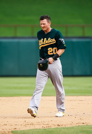 Sep 15, 2013; Arlington, TX, USA; Oakland Athletics third baseman Josh Donaldson (20) during the game against the Texas Rangers at Rangers Ballpark in Arlington. Oakland won 5-1. Mandatory Credit: Kevin Jairaj-USA TODAY Sports