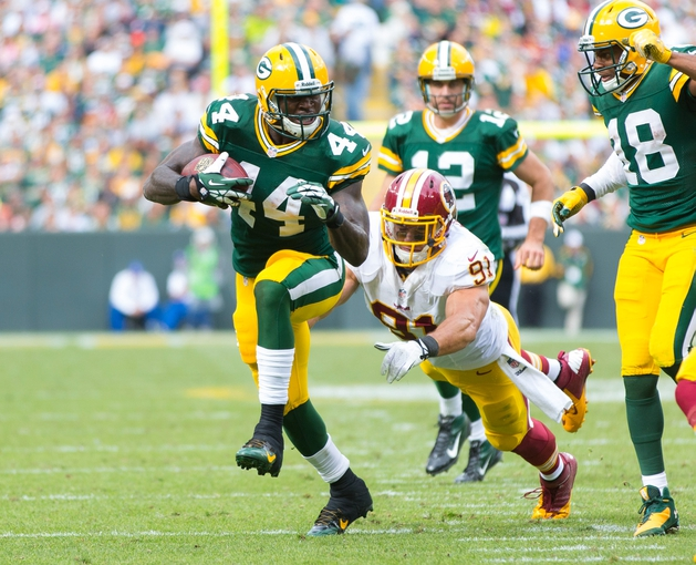 Sep 15, 2013; Green Bay, WI, USA;  Green Bay Packers running back James Starks (44) during the game against the Washington Redskins at Lambeau Field.  Green Bay won 38-20.  Mandatory Credit: Jeff Hanisch-USA TODAY Sports