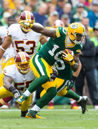 Sep 15, 2013; Green Bay, WI, USA;  Green Bay Packers wide receiver Jeremy Ross (10) during the game against the Washington Redskins at Lambeau Field.  Green Bay won 38-20.  Mandatory Credit: Jeff Hanisch-USA TODAY Sports