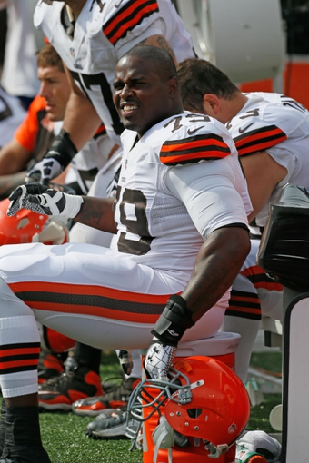 Sep 15, 2013; Baltimore, MD, USA; Cleveland Browns lineman Rashad Butler (79) prior to the game against the Baltimore Ravens defense at M&T Bank Stadium. Mandatory Credit: Mitch Stringer-USA TODAY Sports