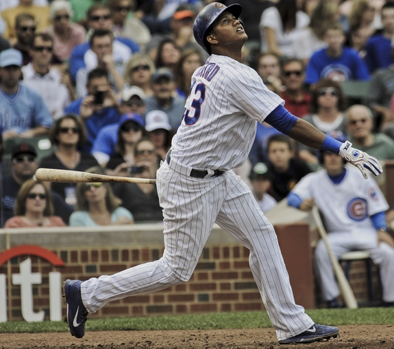 Sep 20, 2013; Chicago, IL, USA; Chicago Cubs infielder Starlin Castro in their game against the Atlanta Braves at Wrigley Field. Mandatory Credit: Matt Marton-USA TODAY Sports