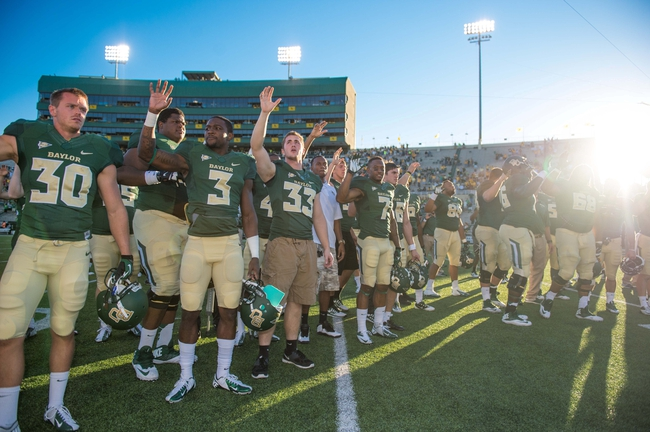 Sep 21, 2013; Waco, TX, USA; The Baylor Bears celebrate the win over the Louisiana Monroe Warhawks at Floyd Casey Stadium. The Bears defeated the Warhawks 70-7. Mandatory Credit: Jerome Miron-USA TODAY Sports