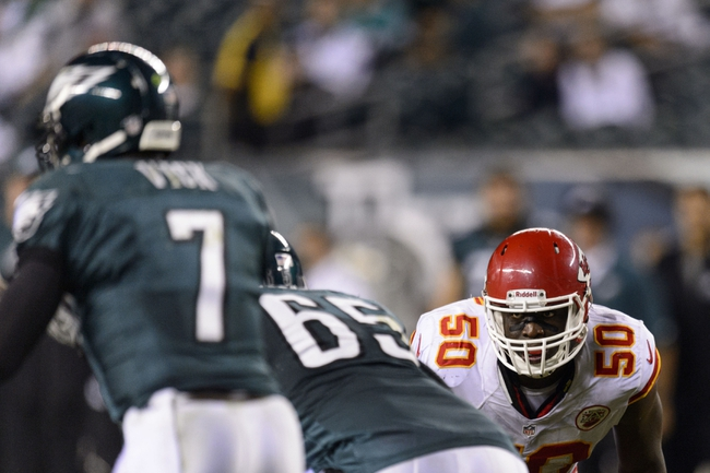 Sep 19, 2013; Philadelphia, PA, USA; Kansas City Chiefs linebacker Justin Houston (50) during the fourth quarter against the Philadelphia Eagles at Lincoln Financial Field. The Chiefs defeated the Eagles 26-16. Mandatory Credit: Howard Smith-USA TODAY Sports