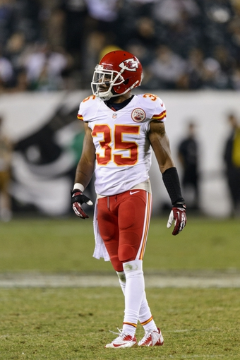 Sep 19, 2013; Philadelphia, PA, USA; Kansas City Chiefs safety Quintin Demps (35) during the fourth quarter against the Philadelphia Eagles at Lincoln Financial Field. The Chiefs defeated the Eagles 26-16. Mandatory Credit: Howard Smith-USA TODAY Sports