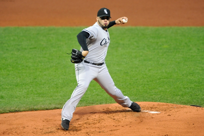Sep 24, 2013; Cleveland, OH, USA; Chicago White Sox starting pitcher Hector Santiago (53) delivers in the first inning against the Cleveland Indians at Progressive Field. Mandatory Credit: David Richard-USA TODAY Sports