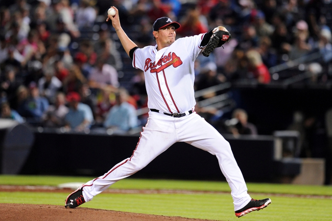 Sep 24, 2013; Atlanta, GA, USA; Atlanta Braves starting pitcher Freddy Garcia (50) pitches against the Milwaukee Brewers during the fourth inning at Turner Field. Mandatory Credit: Dale Zanine-USA TODAY Sports