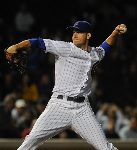 Sep 24, 2013; Chicago, IL, USA;  Chicago Cubs pitcher Chris Rusin pitches against the Pittsburgh Pirates in the first inning  at Wrigley Field. Mandatory Credit: Matt Marton-USA TODAY Sports