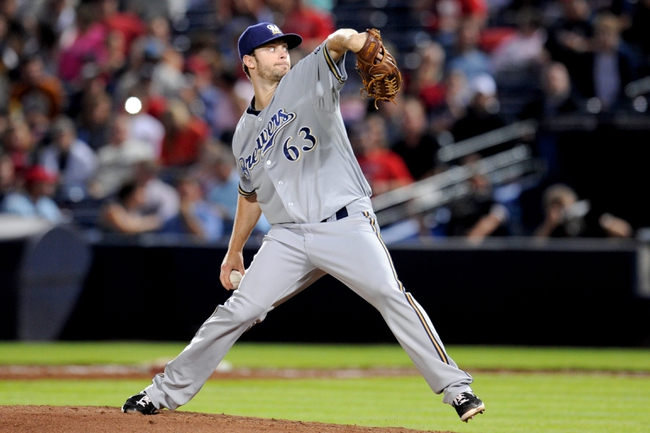 Sep 24, 2013; Atlanta, GA, USA; Milwaukee Brewers starting pitcher Tyler Thornburg (63) pitches against the the Atlanta Braves during the sixth inning at Turner Field. Mandatory Credit: Dale Zanine-USA TODAY Sports