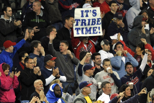 Sep 24, 2013; Cleveland, OH, USA; Fans cheer in the seventh inning of a game between the Cleveland Indians and the Chicago White Sox at Progressive Field. Mandatory Credit: David Richard-USA TODAY Sports