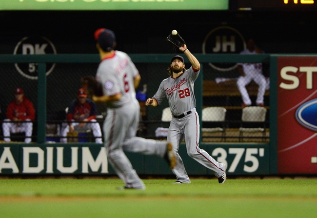 Sep 24, 2013; St. Louis, MO, USA; Washington Nationals right fielder Jayson Werth (28) catches a ball hit by St. Louis Cardinals right fielder Carlos Beltran (not pictured) during the third inning at Busch Stadium. Mandatory Credit: Jeff Curry-USA TODAY Sports
