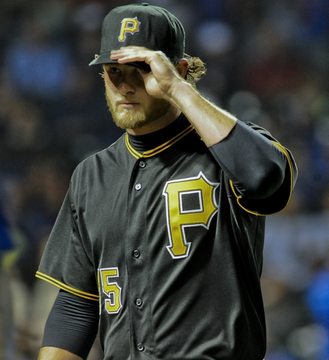 Sep 24, 2013; Chicago, IL, USA;  Pittsburgh Pirates pitcher Gerrit Cole after pitching during their game against the Chicago Cubs at Wrigley Field. Mandatory Credit: Matt Marton-USA TODAY Sports