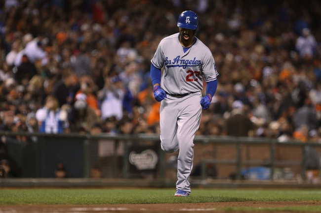 Sep 24, 2013; San Francisco, CA, USA; Los Angeles Dodgers center fielder Matt Kemp (27) rounds the bases on a solo home run against the San Francisco Giants during the sixth inning at AT&T Park. Mandatory Credit: Kelley L Cox-USA TODAY Sports