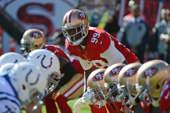 September 22, 2013; San Francisco, CA, USA; San Francisco 49ers outside linebacker Aldon Smith (99) stands at the line of scrimmage during the fourth quarter against the Indianapolis Colts at Candlestick Park. The Colts defeated the 49ers 27-7. Mandatory Credit: Kyle Terada-USA TODAY Sports
