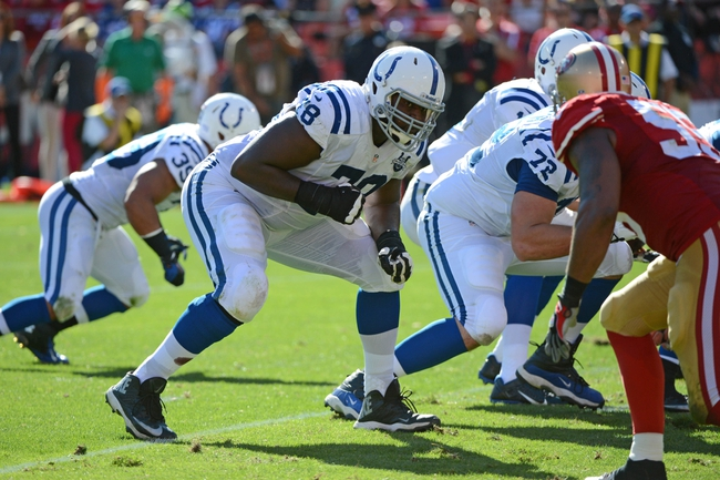 September 22, 2013; San Francisco, CA, USA; Indianapolis Colts tackle Gosder Cherilus (78) lines up at the line of scrimmage during the fourth quarter against the San Francisco 49ers at Candlestick Park. The Colts defeated the 49ers 27-7. Mandatory Credit: Kyle Terada-USA TODAY Sports