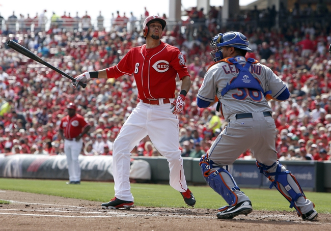 Sep 25, 2013; Cincinnati, OH, USA;Cincinnati Reds center fielder Billy Hamilton (6) strikes out in front of New York Mets catcher Juan Centeno (36) in the first inning at Great American Ball Park. Mandatory Credit: David Kohl-USA TODAY Sports