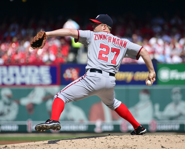 Sep 25, 2013; St. Louis, MO, USA; Washington Nationals pitcher Jordan Zimmermann (27) delivers a pitch against the St. Louis Cardinals at Busch Stadium. Mandatory Credit: Scott Rovak-USA TODAY Sports