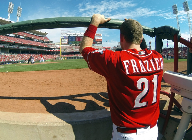 Sep 25, 2013; Cincinnati, OH, USA; Cincinnati Reds third baseman Todd Frazier watches from the photo area of the dugout during a game against the New York Mets at Great American Ball Park. The Mets won 1-0. Mandatory Credit: David Kohl-USA TODAY Sports