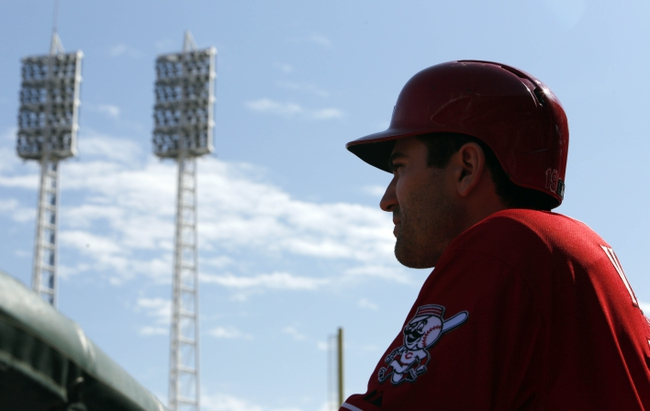 Sep 25, 2013; Cincinnati, OH, USA; Cincinnati Reds first baseman Joey Votto waits to bat during a game against the New York Mets at Great American Ball Park. Mandatory Credit: David Kohl-USA TODAY Sports