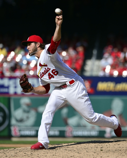 Sep 25, 2013; St. Louis, MO, USA; St. Louis Cardinals relief pitcher Kevin Siegrist (46) delivers a pitch against the Washington Nationals during the eighth inning at Busch Stadium. The Cardinals defeated the Nationals 4-1. Mandatory Credit: Scott Rovak-USA TODAY Sports