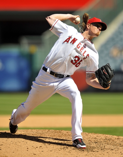 September 25, 2013; Anaheim, CA, USA; Los Angeles Angels starting pitcher Jered Weaver (36) pitches during the sixth inning against the Oakland Athletics at Angel Stadium of Anaheim. Mandatory Credit: Gary A. Vasquez-USA TODAY Sports