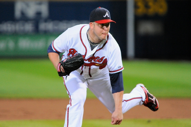 Sep 25, 2013; Atlanta, GA, USA; Atlanta Braves starting pitcher Paul Maholm (28) pitches against the Milwaukee Brewers during the first inning at Turner Field. Mandatory Credit: Dale Zanine-USA TODAY Sports