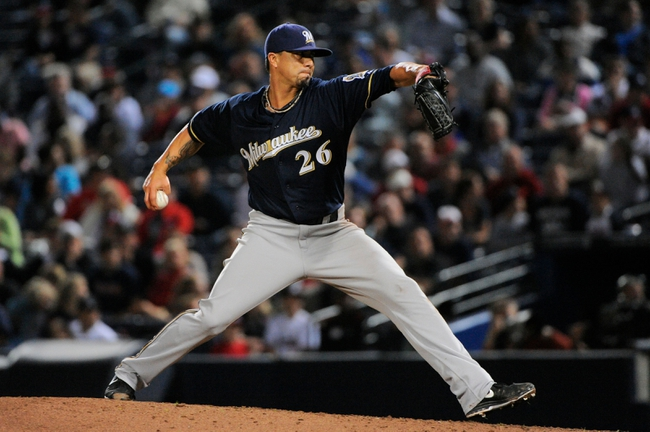 Sep 25, 2013; Atlanta, GA, USA; Milwaukee Brewers starting pitcher Kyle Lohse (26) pitches against the Atlanta Braves during the eighth inning at Turner Field. The Brewers defeated the Braves 4-0. Mandatory Credit: Dale Zanine-USA TODAY Sports