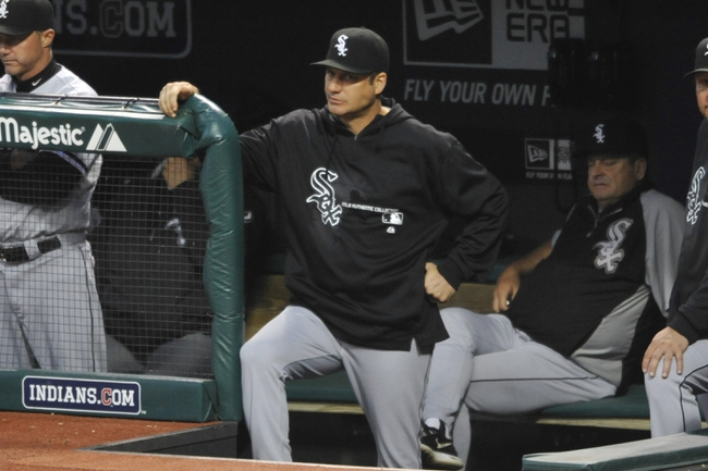 Sep 25, 2013; Cleveland, OH, USA; Chicago White Sox manager Robin Ventura watches in the first inning against the Cleveland Indians at Progressive Field. Mandatory Credit: David Richard-USA TODAY Sports