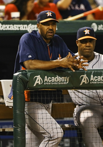 Sep 25, 2013; Arlington, TX, USA; Houston Astros manager Bo Porter (16) looks on during the game against the Texas Rangers at Rangers Ballpark in Arlington. Mandatory Credit: Kevin Jairaj-USA TODAY Sports