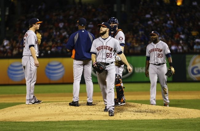 Sep 25, 2013; Arlington, TX, USA; Houston Astros starting pitcher Dallas Keuchel (60) leaves the game during the sixth inning against the Texas Rangers at Rangers Ballpark in Arlington. Mandatory Credit: Kevin Jairaj-USA TODAY Sports