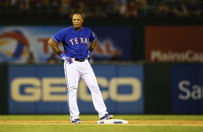 Sep 25, 2013; Arlington, TX, USA; Texas Rangers third baseman Adrian Beltre (29) reacts at second base during the game against the Houston Astros at Rangers Ballpark in Arlington. Mandatory Credit: Kevin Jairaj-USA TODAY Sports