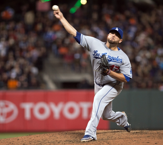 Sep 25, 2013; San Francisco, CA, USA; Los Angeles Dodgers starting pitcher Ricky Nolasco (47) pitches against the San Francisco Giants during the sixth inning at AT&T Park. Mandatory Credit: Ed Szczepanski-USA TODAY Sports