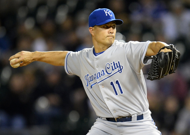 Sep 26, 2013; Chicago, IL, USA; Kansas City Royals starting pitcher Jeremy Guthrie (11) throws a pitch against the Chicago White Sox during the first inning at U.S Cellular Field. Mandatory Credit: Mike DiNovo-USA TODAY Sports