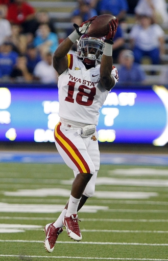 Sep 26, 2013; Tulsa, OK, USA; Iowa State Cyclones wide receiver Albert Gary catches a pass from the quarterback during the first half against the Tulsa Golden Hurricane at Skelly Field at H.A. Chapman Stadium. Mandatory Credit: Alonzo Adams-USA TODAY Sports
