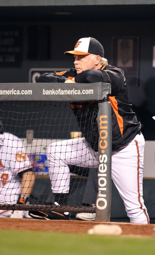 Sep 26, 2013; Baltimore, MD, USA; Baltimore Orioles manager Buck Showalter (26) during a game against the Toronto Blue Jays at Oriole Park at Camden Yards. Mandatory Credit: Joy R. Absalon-USA TODAY Sports