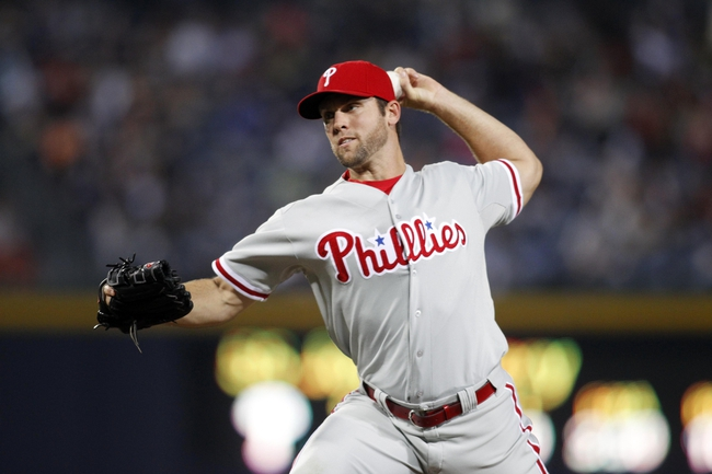 Sep 26, 2013; Atlanta, GA, USA; Philadelphia Phillies relief pitcher Joe Savery (55) throws a pitch against the Atlanta Braves in the fifth inning at Turner Field. Mandatory Credit: Brett Davis-USA TODAY Sports