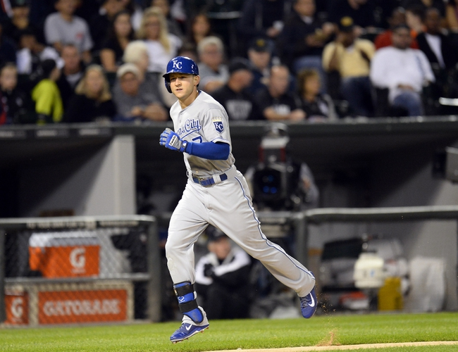 Sep 26, 2013; Chicago, IL, USA; Kansas City Royals right fielder David Lough (7) runs the bases on a two run home run against Chicago White Sox starting pitcher Andre Rienzo (not pictured) during the fourth inning at U.S Cellular Field. Mandatory Credit: Mike DiNovo-USA TODAY Sports