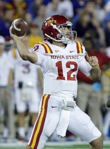 Sep 26, 2013; Tulsa, OK, USA; Iowa State Cyclones quarterback Sam Richardson throws a pass during the second half against the Tulsa Golden Hurricane at Skelly Field at H.A. Chapman Stadium. Mandatory Credit: Alonzo Adams-USA TODAY Sports