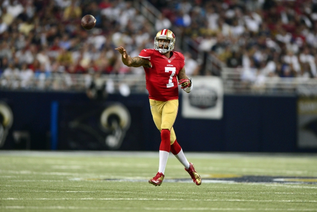 Sep 26, 2013; St. Louis, MO, USA; San Francisco 49ers quarterback Colin Kaepernick (7) throws against the St. Louis Rams during the second half at the Edward Jones Dome. San Francisco defeated St. Louis 35-11. Mandatory Credit: Jeff Curry-USA TODAY Sports