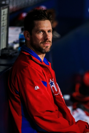 Sep 27, 2013; Atlanta, GA, USA; Philadelphia Phillies starting pitcher Cliff Lee (33) sits on the bench before pitching in the first inning against the Atlanta Braves at Turner Field. Mandatory Credit: Daniel Shirey-USA TODAY Sports