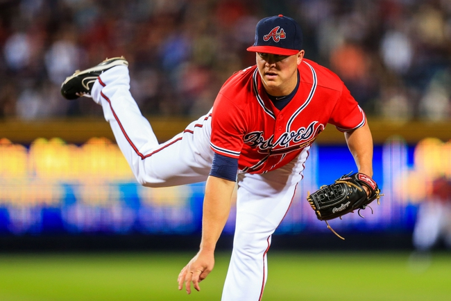 Sep 27, 2013; Atlanta, GA, USA; Atlanta Braves starting pitcher Kris Medlen (54) pitches in the third inning against the Philadelphia Phillies at Turner Field. Mandatory Credit: Daniel Shirey-USA TODAY Sports